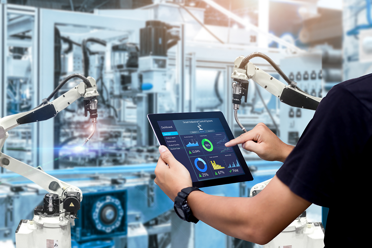 In smart factories, production equipment is equipped with sensors so that engineers can monitor it using a digital twin, for example.